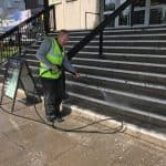 Cleaning the paving at Princes Hall Theatre Aldershot 1
